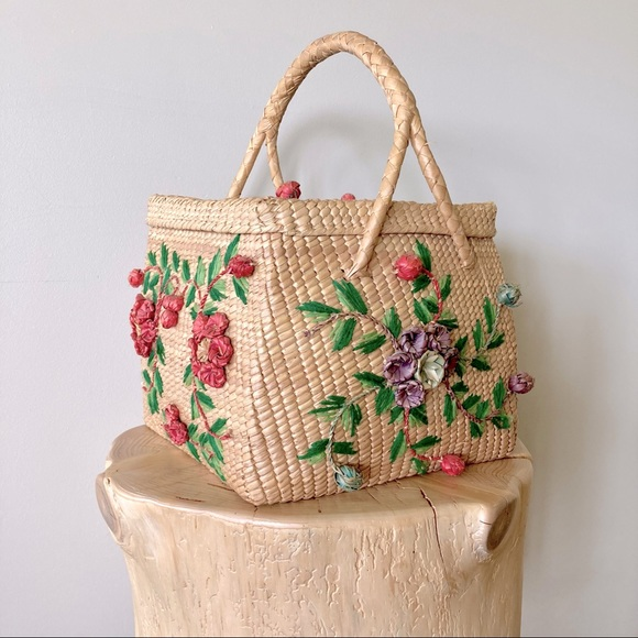 Vintage Basket Bag Woven Flowers & Embroidery 1950